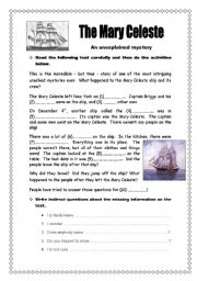 English Worksheets: The Mary Celeste - 2 pages + key