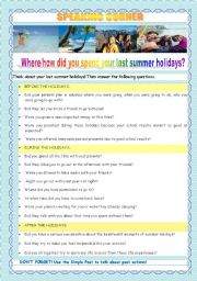 English Worksheet: BACK TO SCHOOL - WHERE/HOW DID YOU SPEND YOUR SUMMER HOLIDAYS?