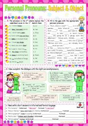 Personal Pronouns   -   Subject and Object