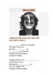 English Worksheet:   IMAGINE /SONG