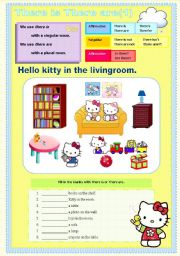 English Worksheet: There is There are hello kitty set 1