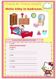 English Worksheet: There is there are hello kitty set 2