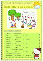 English Worksheet: There is There are hello kitty set 3