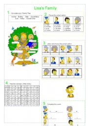 English Worksheet: Lisa`s family. The Simpson`s