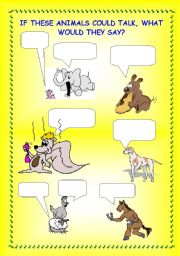 English Worksheets: If these animals could talk (#2)