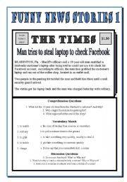 English Worksheet: Funny News Stories 1 - Man Tries to Steal Laptop to check Facebook!