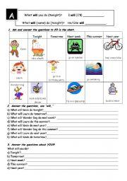 English worksheet: Future simple pairwork