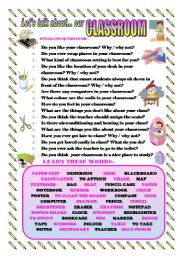English Worksheets: LET�S TALK ABOUT OUR CLASSROOM (SPEAKING SERIES 50)