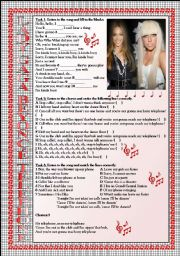 English Worksheet: LADY GAGA and BEYONC� Telephone LISTENING song-based activity (FULLY EDITABLE AND KEY INCLUDED!!!)