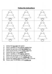 english worksheets follow the instructions christmas tree. Black Bedroom Furniture Sets. Home Design Ideas