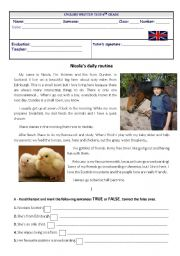 English Worksheets: Nicola�s daily routine