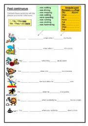 English worksheets: Past continuous- beginners