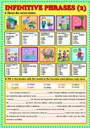 English Worksheets: Infinitive phrases part 2 + KEY