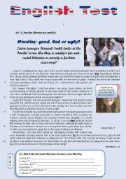 English Worksheet: Test - Hoodies: good, bad or ugly? (10th grade)
