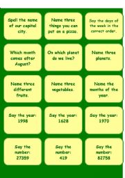 English Worksheet: do or dare game for the whole class Part 1
