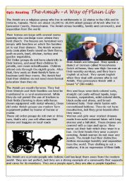 English Worksheet: People�s way of life: the Amish