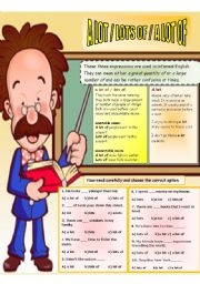 English Worksheets: a lot/lots of/ a lot of