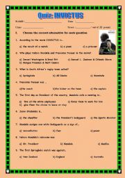 English Worksheets: INVICTUS Quiz/Trivia WITH ANSWERS