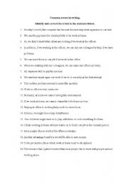 English Worksheets: Common errors in writing (sentences)