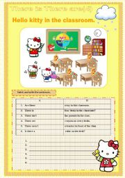 There is there are hello kitty set 4