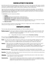 English Worksheets: Writing Letters to the editor