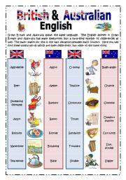 British & Australian English: Pictionary 1/2