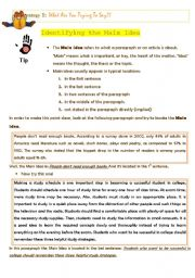 English Worksheet: Identifying the Main Idea
