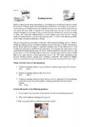 English Worksheets: Bank service