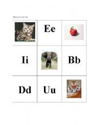 English worksheet: Phonics Tic Tac Toe