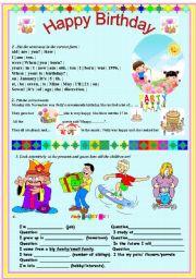 English Worksheet: Enjoy easy and interesting Tasks about Birthday!
