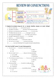 English Worksheets: Review of conjunctions (multiple-choice, rewriting, gap-filling exercises)