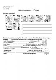 English Worksheets: Now Present Activities