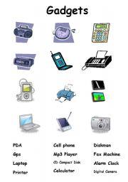 English Worksheet: Gadgets