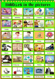 English Worksheets: Hobbies in the pictures!