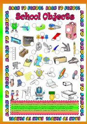 English Worksheet: School Objects ( 38 object )