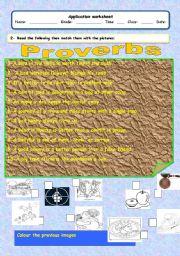 English worksheet: proverbs
