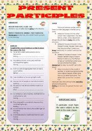 English Worksheet: PARTICIPLES: PRESENT PARTICIPLES