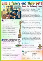 English Worksheet: LISA�S FAMILY AND THEIR PETS (B&W VERSION+KEY INCLUDED)