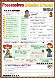 English Worksheets: Possessives  (my, mine/  your,yours...)