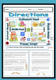 English Worksheets: Directions (2 pages)
