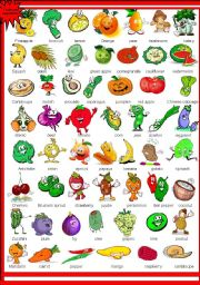 English Worksheet: Cute Fruits and Vegetables Pictionary
