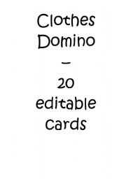 English Worksheets: clothes domino / dominoes