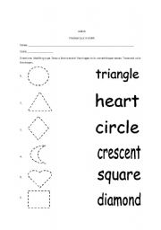 Worksheets Shape Name worksheet shapes and shape names english names