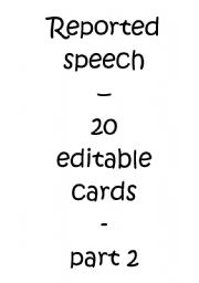 English Worksheet: Reported / Indirect Speech  Cards - Quotations II/II (Editable)
