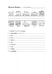 English Worksheets: Across From