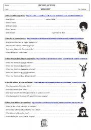 English Worksheets: webquest Michael Jackson