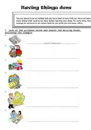 English Worksheets: Having things done- Going on holiday