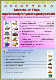 English Worksheet: Adverbs of Time - ago/already/anymore/just/yet/still (2/2)