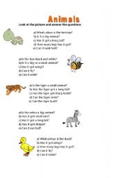 English Worksheets: Answer about the animals