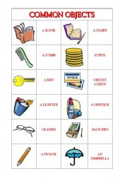 Home > general vocabulary worksheets > Common Objects